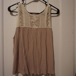 Tan Crochet Blouse